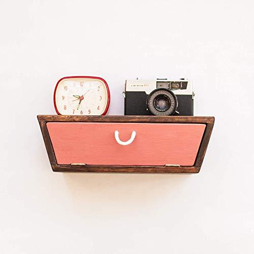 Mesita de noche colgante estilo vintage con cajón hecha a mano en madera maciza/Estante de pared con cajón de madera estilo vintage