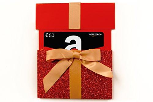 Amazon.de Geschenkkarte in Geschenkkuvert - 50 EUR (rotes Glitzergeschenk)
