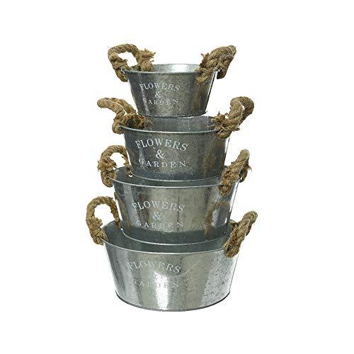 Kaemingk Lot de 4 pots de fleurs avec poignée en jute et inscription Flower & Garden galvanisés dans différentes tailles