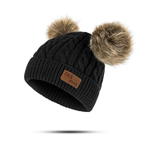 Nuevo Sombrero de bebé Traje de Bufanda Otoño Invierno Tejido para niños Conjunto de Bufanda de algodón para niñas y niños Sombreros Cuello Bufanda para niños-Black 2