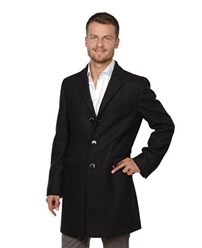 Benvenuto Herren Mantel Cooper 25183-1254 Wollmischung mit Kaschmirzusatzschwarz leicht meiliert Größen: 48 50 52 54 56 (54)
