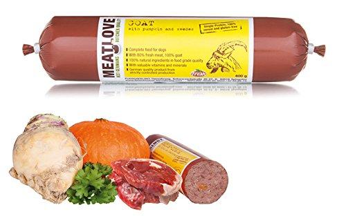 Meatlove 6 x 800 g pasta de ganado levantado único proteína alimentos Chub rollos para perros