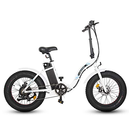 "ECOTRIC 20"" Fat Tire Folding Bicycle Powerful Electric Bike 500W 36V/12.5AH Lithium Battery Rear Motor LED Display Alloy Frame Ebike (White)"
