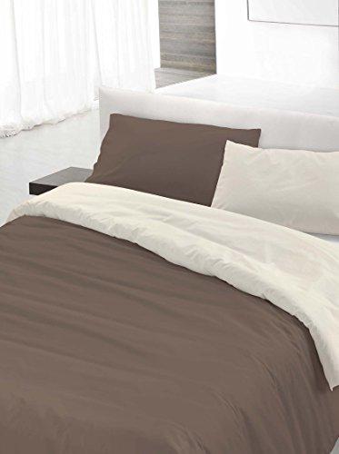 Italian Bed Linen Set Copripiumino Matrimoniale Marrone/Panna 250 x 200 cm