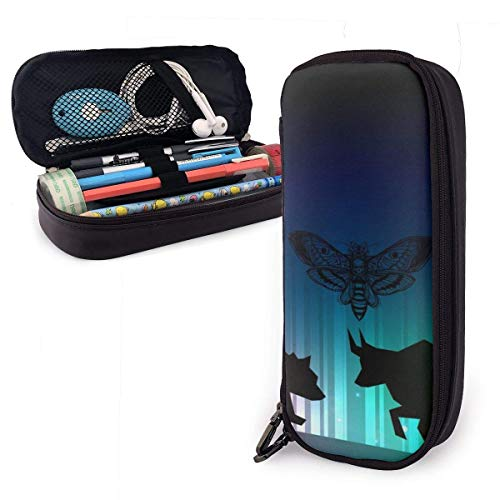 Stock Market Illustrator Mit Bull And Bear PU Leder Federmäppchen, Large Capacity Pen Bag, Durable Stationery Organizers