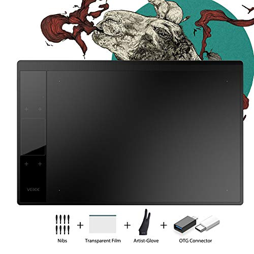 VEIKK A30 V2 10x6 inch Graphics Drawing Tablet Digital Pen Tablet with 8192 Levels Battery-Free Pen, 4 Touch Keys and a Touch Pad ,Compatible with Windows & Mac & Android OS