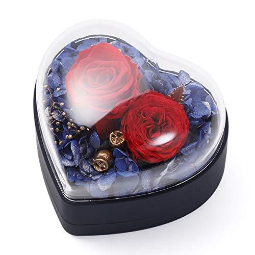 Rosa Eterna Caja de Joyería, Rosa de Flores Preservadas, Hecha a Mano, Rosa Eterna para el Día de San Valentín, día de la Madre, Aniversario,Preservada Real Rose Hecho a Mano Eternal Rose