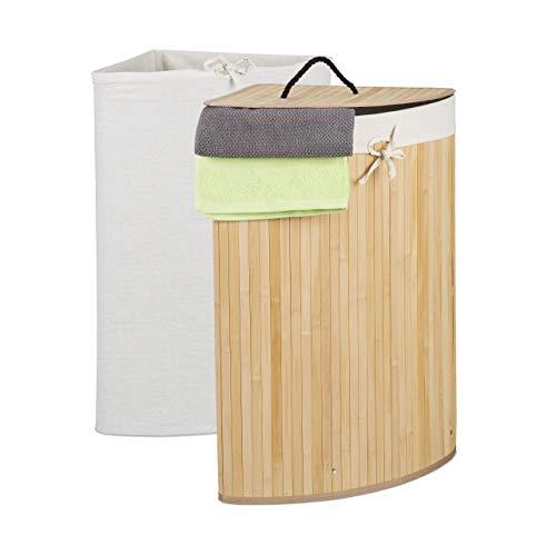 Relaxdays Eckwäschekorb Bambus, faltbarer Wäschesammler mit Deckel, 60 Liter, 2 Wäschesäcke, 66 x 49,5 x 37 cm, natur, 1 Stück