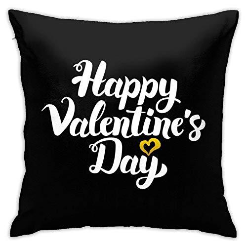 Happy Valentine Day - Funda de almohada con caligrafía escrita a mano para dormitorio, sala de estar, habitación, sofá, 45,7 cm