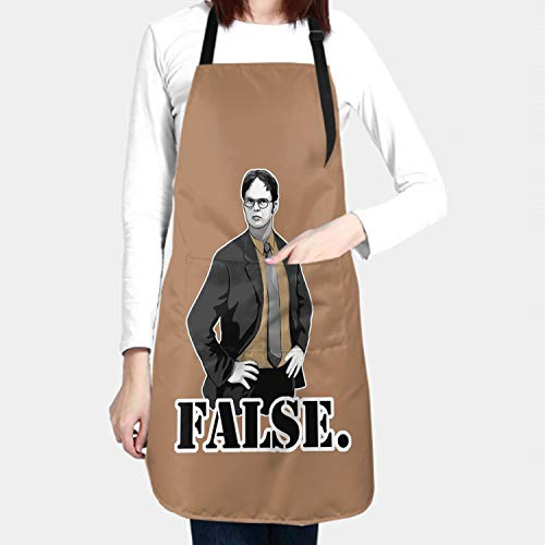 WINTERSUNNY Dwight Schrute Apron with Pockets Waterproof Kitchen Aprons with Adjustable Neck Straps and Long Ties,Yellow Apron for Cooking Baking Painting Gardening,Men and Women