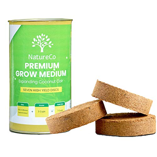 NatureCo Organic Compressed Coconut Coir Fiber Soil for Gardening, Growing Indoor House Plants, Seed Starting, Herbs, Microgreens, Succulents - Peat-Free - Just Add Water