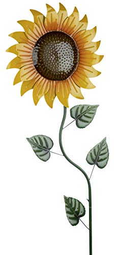 dekojohnson Moderne Gartendeko Sonnenblume edler Gartenstecker Dekostecker Pflanzenstecker Beetstecker Metallstecker gelb orange grün 43x156cm