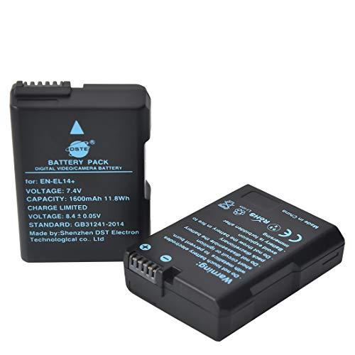 DSTE 2 Piezas de Recambio de bateria EN-EL14 Compatible con Nikon D3100 D3200 D3400 D3500 D5100 D5200 D5300 Coolpix P7000 P7100 P7700