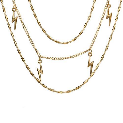 Bishilin Multilayer Sexy Kette Gold Blitz Anhänger Vergoldet Choker Halskette Tattoo