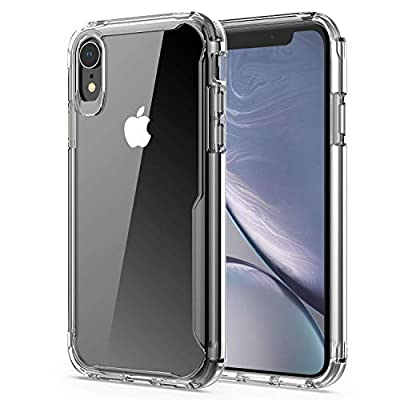 EFFENX Clear iPhone XR Case,Thin Slim Shockproof Case Protective Cover TPU Bumper Hard PC Back Cover for iPhone XR 6.1'' (Crystal Clear)