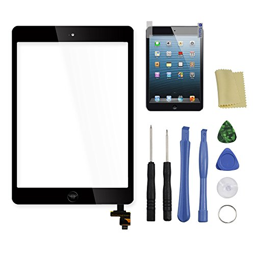 Digitizer for iPad mini 1 2, Touch Screen Complete Full Assembly with IC Chip, Home Button, pre-install Adhesive, Repair Toolkits and Free Protective Film (Black)