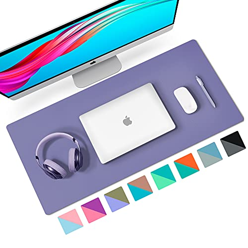 """Aothia Desk Pad, Multifunctional Dual-Sided Office Desk Mat, Smooth Surface Soft Mouse Pad, Easy Clean Waterproof Pu Leather Desk Cover, Desk Writing Mat for Office/Home (23.6"""" x 13.7"""",Khaki+Violet)"""