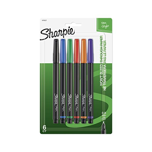 Sharpie 1976527 Pen, Fine Point, Assorted Colors, 6-Count
