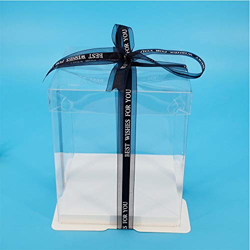 ZANGAO 17x17x28cm Transparent Bunte Basis Geschenk-Box for Artificial Teddybär Rose Klar PET-Platz Bosca Ciste for Kuchen (Color : White, Gift Bag Size : with Clear lid-17x17x28cm)