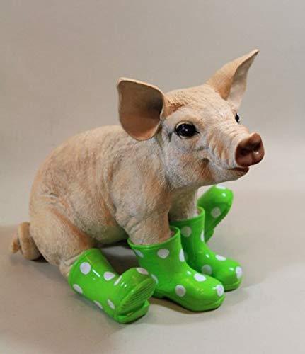 Vamundo Sitzendes Deko Schwein mit Gummistiefel grün # Ferkel # wetterfest