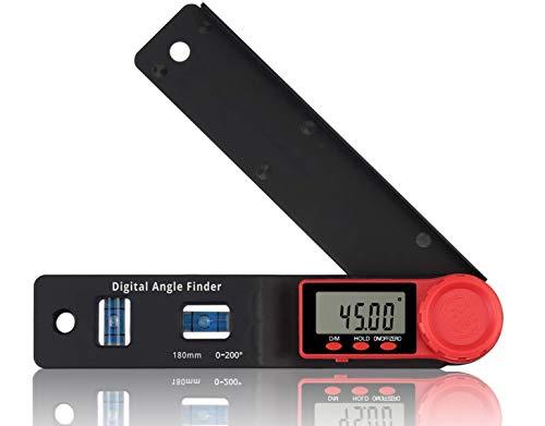 Buscador Digital de Ángulos eSynic 0~200 ° Digital Inclinómetro Digital 180 mm Buscador de Ángulos Medidor con Burbuja de Nivel Profesional y Pantalla LCD para la Construcción Carpintero Artesano