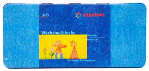 Stockmar 204884266 Wachsmalblöcke (16 Blöcke, wasserfest, aus Bienenwachs, im Blechetui)