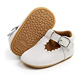 BESIKIM Baby Girls Mary Jane Flats with Bownot Non Slip Soft Sole PU Leather Newborn Infant Toddler First Walker Cirb Dress Shoes(6-12 Months Infant, 00-White)