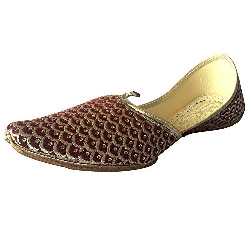 Step n Style Herren Punjabi Jutti Sherwani Schuhe Mehroon Gold Zari Khussa Schuhe formelle Sandalen ethnische Schuhe, Gold (Braun), 41 EU