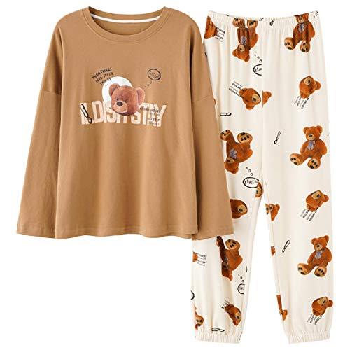 Pijama de Talla Grande 5XL para salón de Dormir, Top de Manga Larga + pantalón Largo, Conjunto de Pijama para Mujer, Pijama con Estampado de Dibujos Animados, Ropa de Dormir de algodón para Mujer