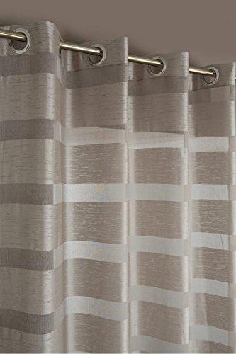 RideauDiscount Voilage Grande Hauteur à Oeillets 140 x 280 cm à Rayures Effet Soie Sauvage Beige Beige