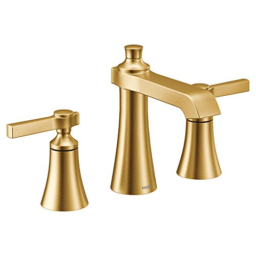 Moen TS6984BG Flara Two-Handle 8 in. Widespread Lever Handle Bathroom Faucet Trim Kit, Valve Required, Brushed Gold
