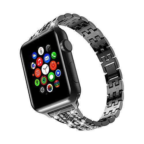 Cinturini TOWOND Bling compatibili con cinturino Apple Watch 42 mm 44 mm iWatch serie 6   SE   5 4 3 2 1, metallo da donna Acciaio inossidabile in cristallo per iWatch Staps Nero, 42mm 44mm