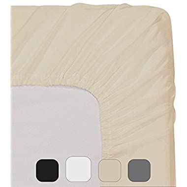 Utopia Bedding Fitted Sheet (Queen - Beige) - Deep Pocket Brushed Velvety Microfiber, Breathable, Extra Soft and Comfortable - Wrinkle, Fade, Stain and Abrasion Resistant - by