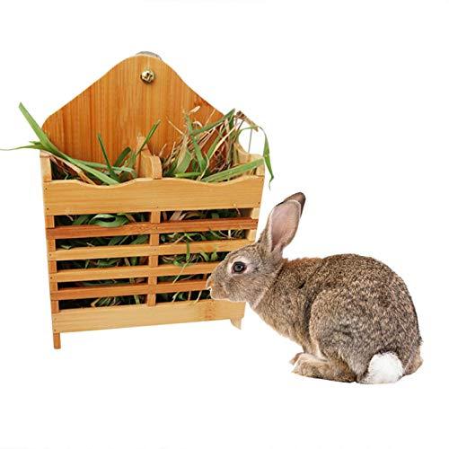 PER Heu Feeder Rack Holz Heu Rack Halter Kleintier Heu Bambus Gras Krippe stehen für Kaninchen Meerschweinchen Chinchilla Hamster Kleines Haustier