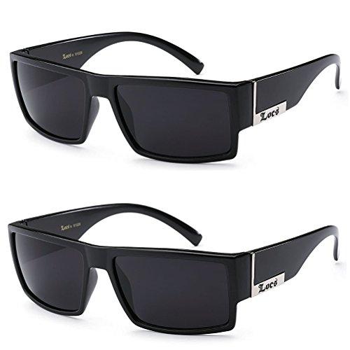 2 Pack - Locs Sunglasses Black Gangster Sunglasses, 5.5w x 1.75h