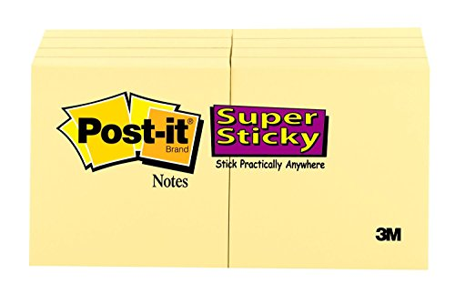 Post-it Super Sticky Notes, 1 7/8 in x 1 7/8 in, 8 Pads, 2x the Sticking Power, Canary Yellow, Recyclable (622-8SSCY)
