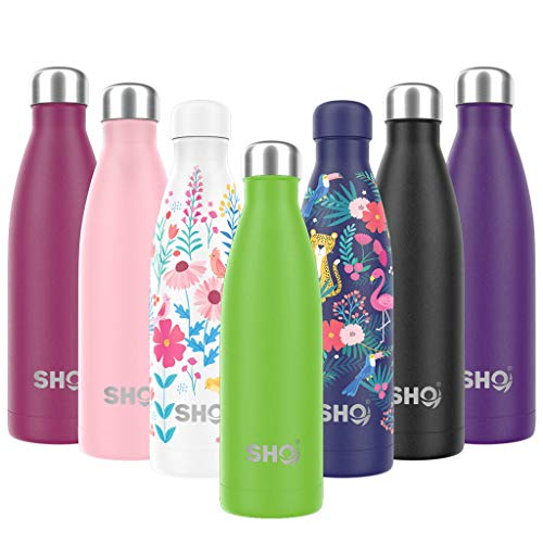 SHO Bottle - Ultimate Vacuum Insulated, Double Walled Stainless Steel Water Bottle & Drinks Bottle - 24 Hrs Cold & 12 Hot - Sports Vacuum Flask BPA Free (Gecko Green 2.0 - Powder Coated, 375ml)
