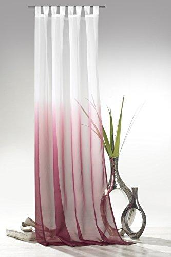 heimtexland ® Schlaufenschal mit Farbverlauf in Beere HxB 245x135 cm Voile transparent - ÖKOTEX geprüft - Gardine Vorhang Dekoschal pink Typ501