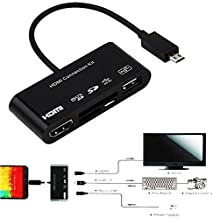 5 in 1 Micro-11p 11 Pin Micro USB to HDMI Converter Cable Connection Kit OTG SD TF M2 Card Reader 2.0 Host HDTV AV HUB Adapter