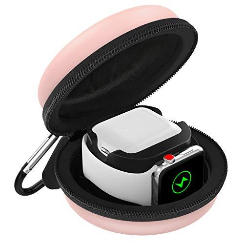 MoKo Ladetasche Kompatibel mit Apple Watch Series 6/5/4/3/2/1/SE & Airpods Pro/2/1 , Tragtasche Reisetasche Schutzbox mit Karabiner, Aufbewahrung Ladestation Ständer Halterung - Roságold