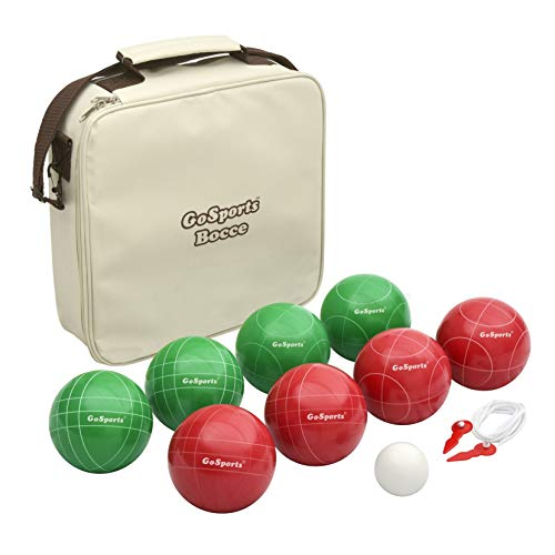 GoSports 100mm Regulation Bocce Set with 8 Balls, Pallino, Case and Measuring Rope - Premium Official Size Set