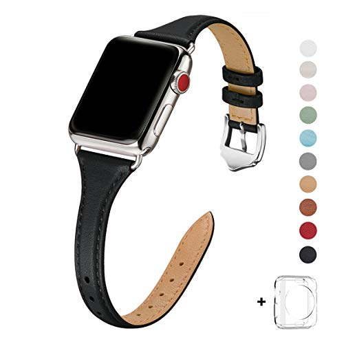 WFEAGL Leather Bands Compatible with Apple Watch 38mm 40mm 42mm 44mm, Top Grain Leather Band Slim & Thin Replacement Wristband for iWatch Series 5/4/3/2/1 (Black Band+Silver Adapter, 38mm 40mm)