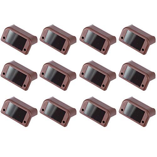 XHXseller 12 x LED-Solarleuchten aus ABS-Kunststoff, solarbetrieben, wasserdichte LED-Solarlampe für Wege, Hof, Terrasse, Treppen, Stufen und Zäune (2 V/40 mAh)
