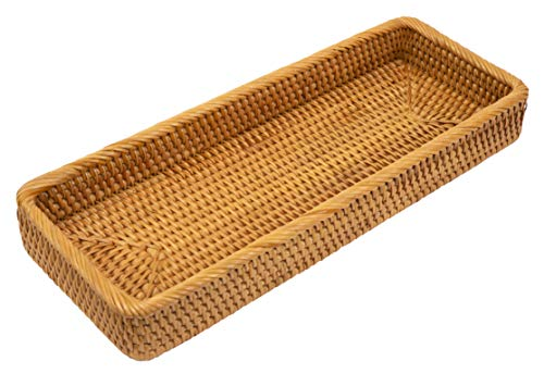 KOLSTRAW Bathroom Vanity Tray Rattan Guest Towel Napkin Holder Wicker Paper Hand Towels Storage Dispenser Napkin Caddy for Toilet Tank Kitchen Bath Decorative Trays (17.8 x 6 x 2 inches, Honey Brown)