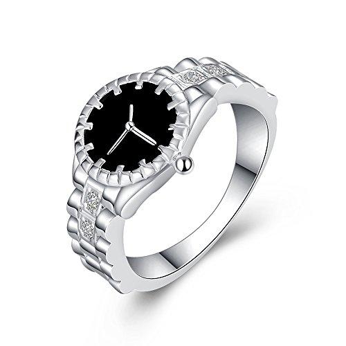 Uloveido Unisex Hombres Mujeres Pareja Solitario Anillo de Plata Diseño de Reloj con Piedra de ónix Negro sintético HR311 (tamaño 19)