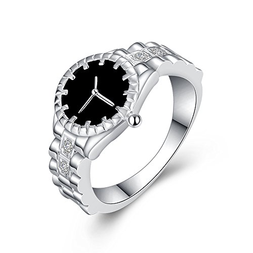 Uloveido Delicate Flower Dial Pocket Quartz Reloj analógico con Anillo de Dedo Elegante con Piedras Transparentes CZ Platino Plateado HR311 (tamaño 14)