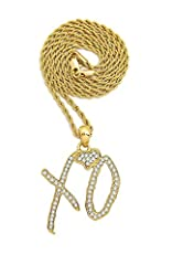 """XO Gang Hip Hop Pendant Size of Pendant: 1.35"""" x 1.65"""" Chain: 2mm Rope Chain, 2mm Box chain, 3mm Cuban chain, 3mm CZ Necklace The pendant displays luxurious quality despite the affordable price and is firmly constructed Gold, Silver and Diamond terms..."""