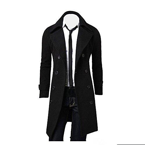 Huaya - Abrigo Largo para Hombre, diseño Retro, Estilo clásico Negro Negro (XXL