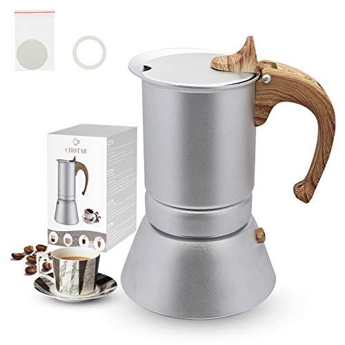 CHISTAR Espressokocher 4 Tassen Mokkakanne Induktion mit Einer Dichtungsring und filterpapier Aluminium 200ml