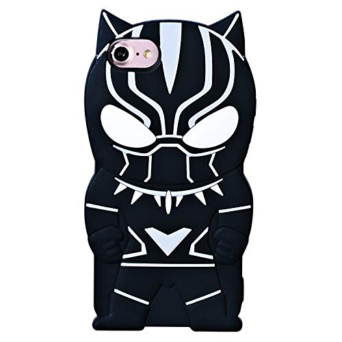 TopSZ Black Man Case for iPhone 8/iPhone 7/iPhone 6/6S 4.7' Silicone 3D Cartoon Hero Animal Cover,Kids Girls Teens Boys Man Cool Fun Cute Kawaii Soft Rubber Funny Character Cases for iPhone8/7/6/6S